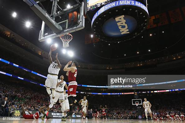 Demetrius Jackson of the Notre Dame Fighting Irish makes a layup late in the second half over Bronson Koenig the Wisconsin Badgers during the 2016...