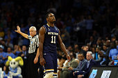 Demetrius Jackson of the Notre Dame Fighting Irish reacts late in the second half against the North Carolina Tar Heels during the 2016 NCAA Men's...