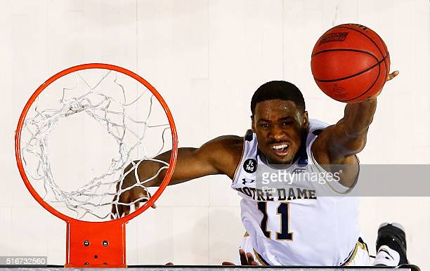 Demetrius Jackson of the Notre Dame Fighting Irish shoots against the Stephen F Austin Lumberjacks in the second half during the second round of the...