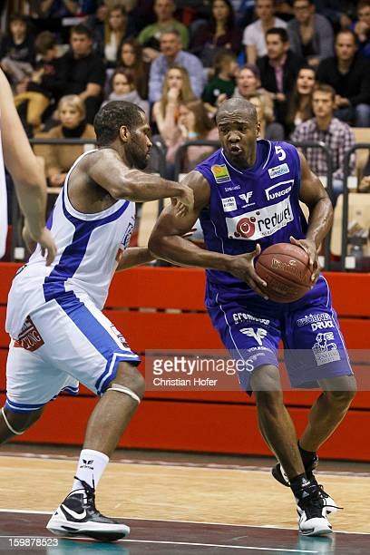 Demetrius Nelson of Kapfenberg challenges Jason Johnson of Oberwart during the Admiral Bundesliga match between Kapfenberg Bulls and Redwell Gunners...