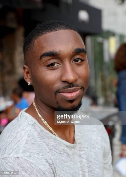 Demetrius Shipp Jr poses outside the landmark restaurant Sylvia's in advance of the Sneak Peak of 'All Eyez On Me' at Maysles Cinema on June 12 2017...