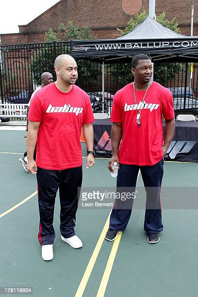Demetrius Spencer and John Johnson attends the Ball Up 'Search For the Next' Tour on August 10 2013 in Baltimore United States
