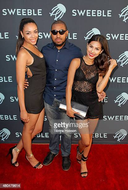 Demi Casale James Davis Jr and Nathalia Castellon attend the Sweeble and Arsenic Magazine party on July 11 2015 in Studio City California