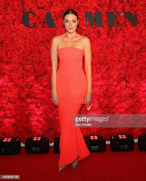Demi Harman arrives ahead of opening night of Opera Australia's production of Carmen at Sydney Opera House on June 16 2016 in Sydney Australia