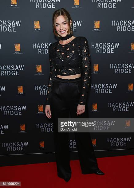 Demi Harman arrives ahead of the Australian premiere of Hacksaw Ridge at State Theatre on October 16 2016 in Sydney Australia
