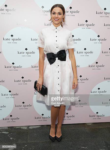 Demi Harman arrives ahead of the Kate Spade New York 'All In Good Taste' book launch party at The Atrium at the Grounds of Alexandria on December 8...
