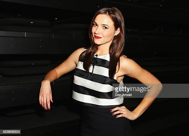 Demi Harman poses at Kookai Fashion Show SS14/15 at Carriageworks on August 20 2014 in Sydney Australia