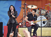 Demi Lovato and Brad Paisley perform on ABC's 'Good Morning America' at SummerStage at Rumsey Playfield Central Park on June 17 2016 in New York City