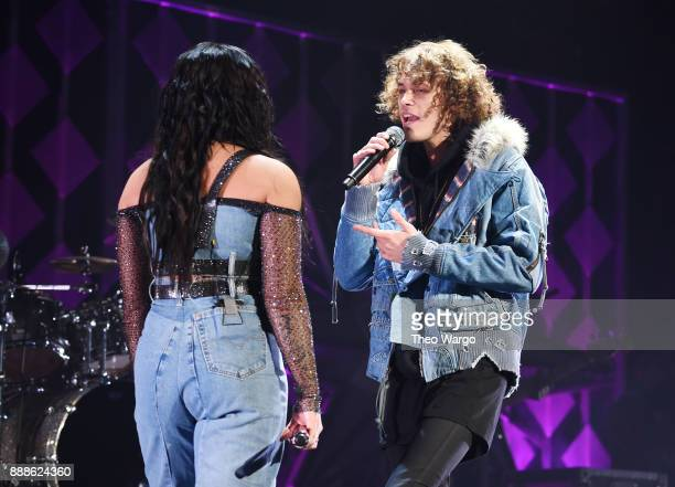 Demi Lovato and Trevor Dahl of Cheat Codes perform at Z100's Jingle Ball 2017 on December 8 2017 in New York City