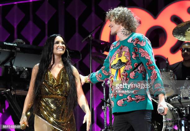 Demi Lovato and Trevor Dahl of Cheat Codes perform onstage during 1027 KIIS FM's Jingle Ball 2017 presented by Capital One at The Forum on December 1...