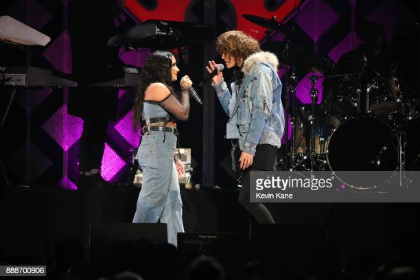 Demi Lovato and Trevor Dahl of Cheat Codes perform onstage during Z100's iHeartRadio Jingle Ball 2017 at Madison Square Garden on December 8 2017 in...
