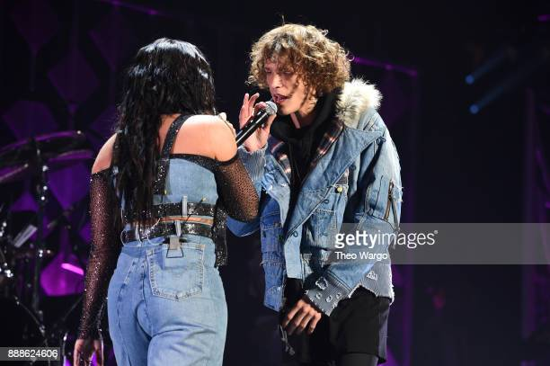 Demi Lovato and Trevor Dahl of Cheat Codes performs at Z100's Jingle Ball 2017 on December 8 2017 in New York City