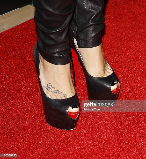 Demi Lovato arrive at the launch of the Redlight Traffic APP Dignity Gala held at The Beverly Hilton Hotel on October 18 2013 in Beverly Hills...