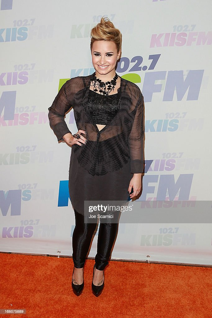 <a gi-track='captionPersonalityLinkClicked' href=/galleries/search?phrase=Demi+Lovato&family=editorial&specificpeople=4897002 ng-click='$event.stopPropagation()'>Demi Lovato</a> arrives at 102.7 KIIS FM's Wango Tango 2013 at The Home Depot Center on May 11, 2013 in Carson, California.
