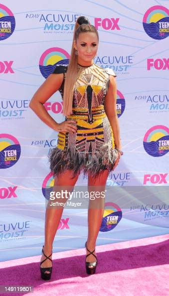 Demi Lovato arrives at the 2012 Teen Choice Awards at Gibson Amphitheatre on July 22 2012 in Universal City California