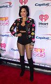 Demi Lovato arrives at the 2015 iHeartRadio Jingle Ball at Verizon Center on December 14 2015 in Washington DC