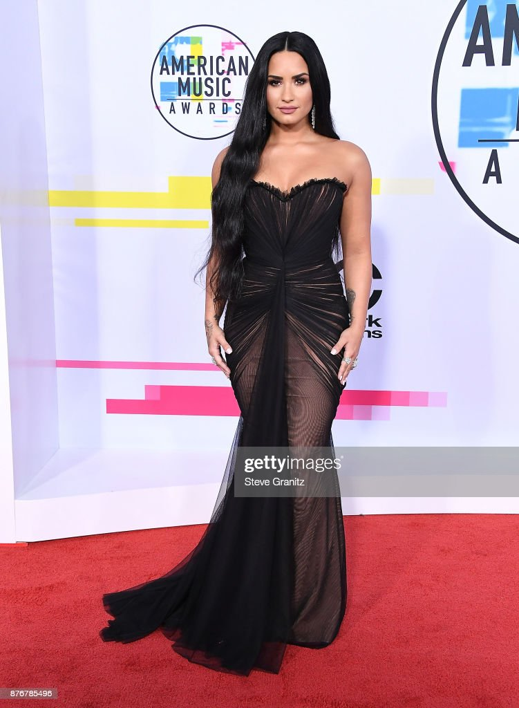 Demi Lovato arrives at the 2017 American Music Awards at Microsoft Theater on November 19, 2017 in Los Angeles, California.