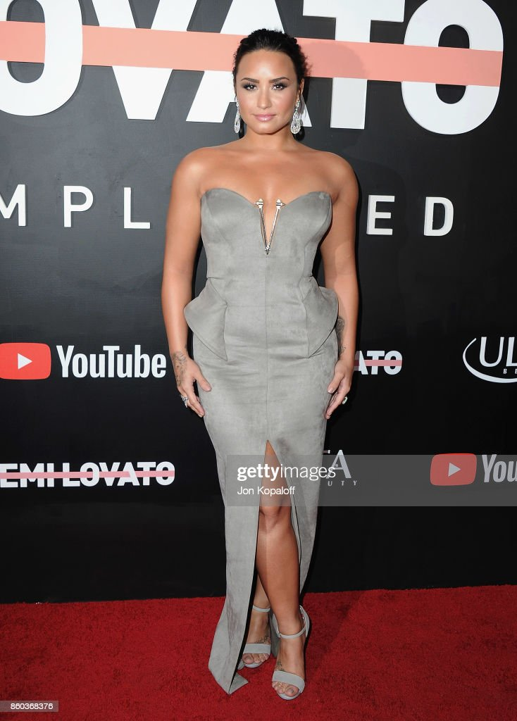 Demi Lovato arrives at the premiere of YouTube's 'Demi Lovato: Simply Complicated' on October 11, 2017 at the Fonda Theatre in Los Angeles, California.