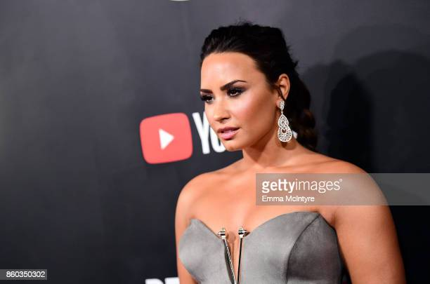 Demi Lovato attends the 'Demi Lovato Simply Complicated' YouTube premiere at The Fonda Theatre on October 11 2017 in Los Angeles California