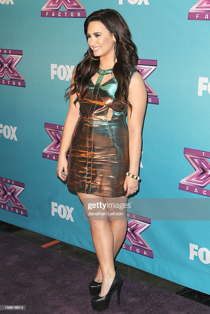 <a gi-track='captionPersonalityLinkClicked' href=/galleries/search?phrase=Demi+Lovato&family=editorial&specificpeople=4897002 ng-click='$event.stopPropagation()'>Demi Lovato</a> attends the FOX's 'The X Factor' Season Finale - Night 2 at CBS Television City on December 20, 2012 in Los Angeles, California.