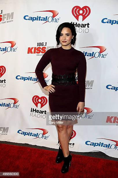Demi Lovato attends the iHeart Radio 1061 KISS FM Jingle Ball at the American Airlines Center on December 1 2015 in Dallas Texas
