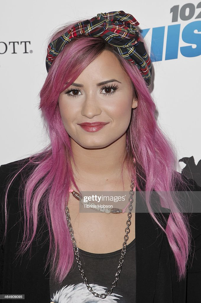 <a gi-track='captionPersonalityLinkClicked' href=/galleries/search?phrase=Demi+Lovato&family=editorial&specificpeople=4897002 ng-click='$event.stopPropagation()'>Demi Lovato</a> attends the KIIS 102.7 and ALT 98.7 FM pre-Grammy party and lounge at JW Marriott Los Angeles at L.A. LIVE on January 24, 2014 in Los Angeles, California.