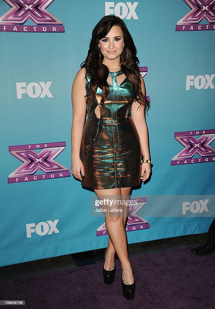 <a gi-track='captionPersonalityLinkClicked' href=/galleries/search?phrase=Demi+Lovato&family=editorial&specificpeople=4897002 ng-click='$event.stopPropagation()'>Demi Lovato</a> attends the season finale of Fox's 'The X Factor' at CBS Television City on December 20, 2012 in Los Angeles, California.