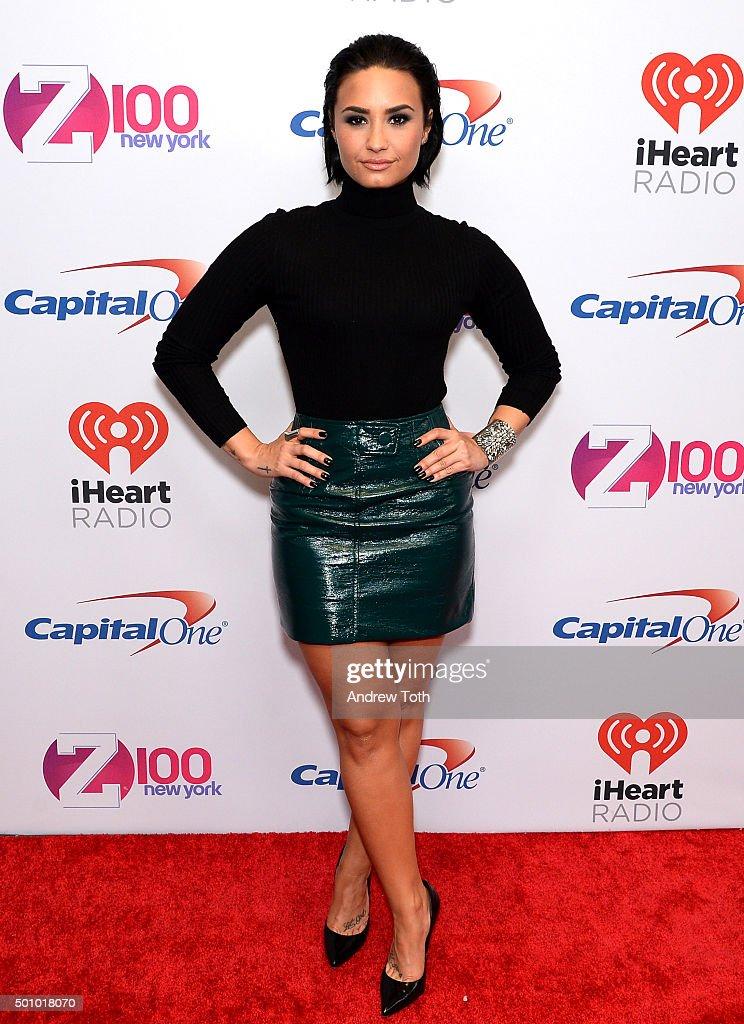 Demi Lovato attends Z100's iHeartRadio Jingle Ball 2015 arrivals at Madison Square Garden on December 11, 2015 in New York City.