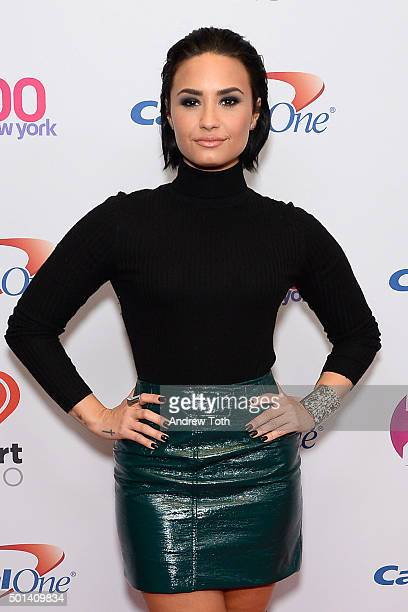 Demi Lovato attends Z100's iHeartRadio Jingle Ball 2015 arrivals at Madison Square Garden on December 11 2015 in New York City