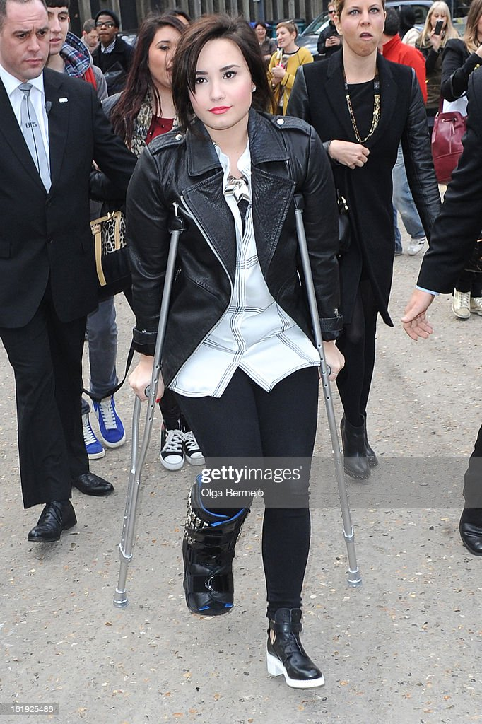 Demi Lovato is pictured arriving at Topshop Unique show during London Fashion Week on February 17, 2013 in London, England.