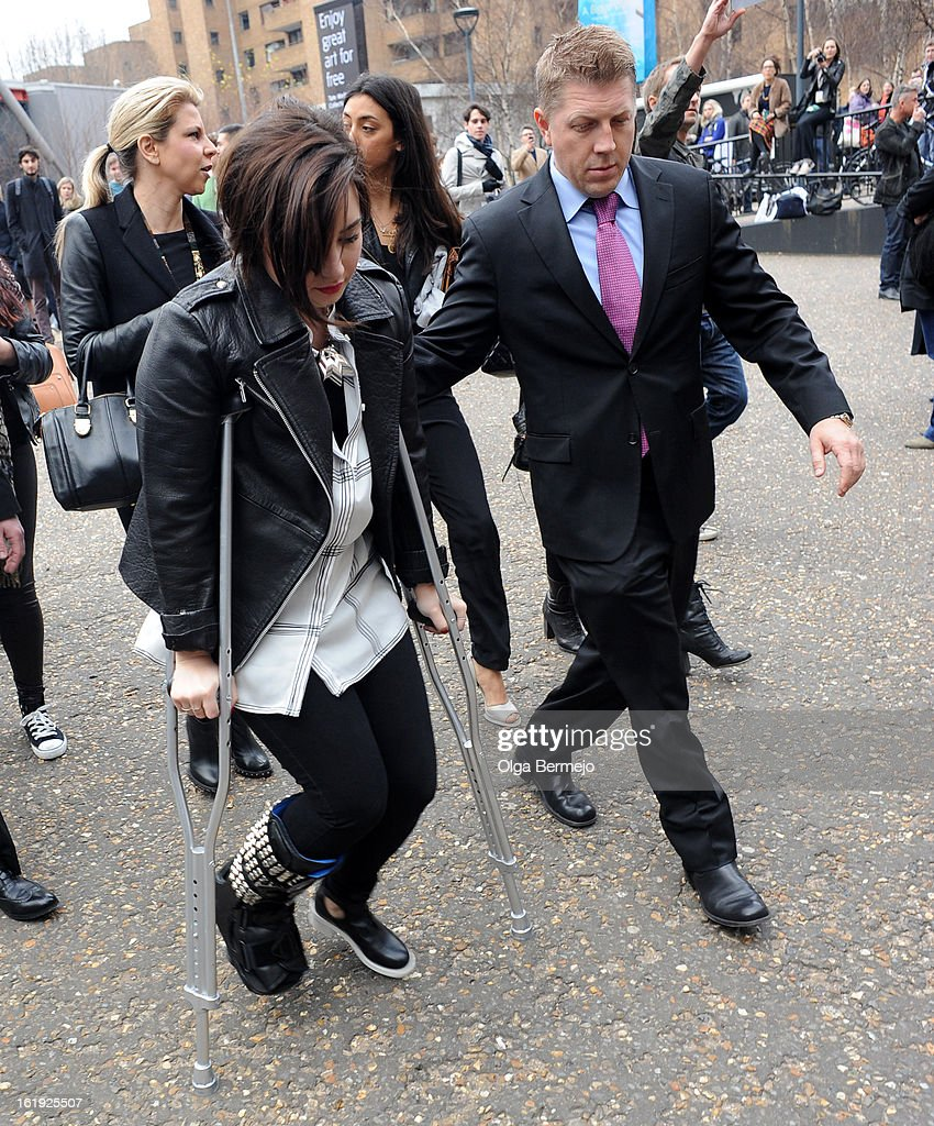 <a gi-track='captionPersonalityLinkClicked' href=/galleries/search?phrase=Demi+Lovato&family=editorial&specificpeople=4897002 ng-click='$event.stopPropagation()'>Demi Lovato</a> is pictured arriving at Topshop Unique show during London Fashion Week on February 17, 2013 in London, England.