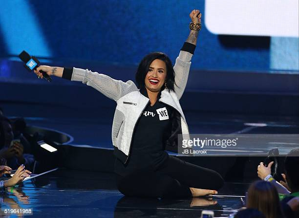 Demi Lovato is seen on stage at the WE Day California 2016 at The Forum on April 7 2016 in Inglewood California