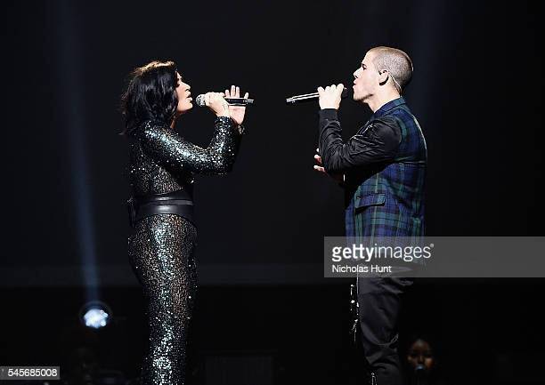 Demi Lovato Nick Jonas perform during the '2016 Honda Civic Tour Featuring Demi Lovato Nick Jonas Future Now' tour at the Barclays Center on July 8...