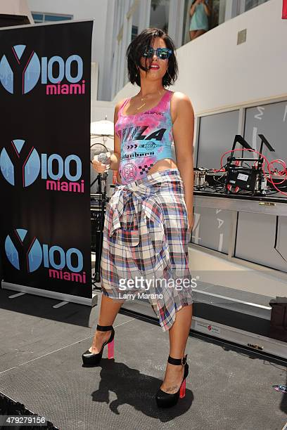 Demi Lovato performs at the Y100 cool for the summer pool party held at the Fontainebleau on July 2 2015 in Miami Beach Florida