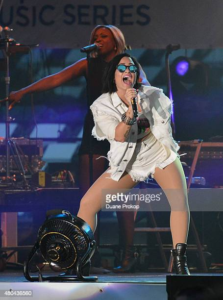 Demi Lovato performs during the 2015 MLB AllStar Concert at Paul Brown Stadium on July 11 2015 in Cincinnati Ohio