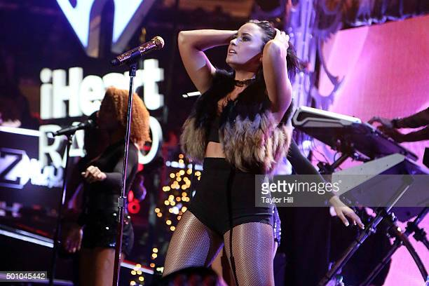 Demi Lovato performs during the 2015 Z100 Jingle Ball at Madison Square Garden on December 11 2015 in New York City