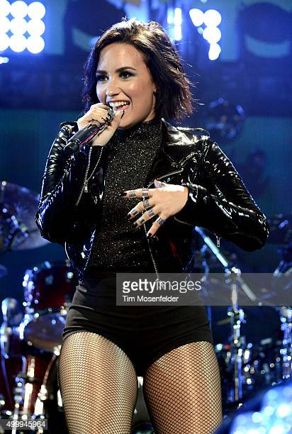 Demi Lovato performs during WiLD 949's FM's Jingle Ball 2015 at ORACLE Arena on December 3 2015 in Oakland California