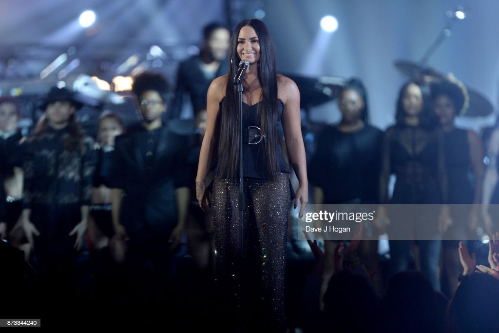 Demi Lovato performs on stage during the MTV EMAs 2017 held at The SSE Arena, Wembley on November 12, 2017 in London, England.