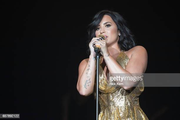 Demi Lovato performs onstage during BeautyKind Unites Concert for Causes at ATT Stadium on March 25 2017 in Arlington Texas