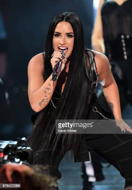 Demi Lovato performs onstage during the 2017 American Music Awards at Microsoft Theater on November 19 2017 in Los Angeles California