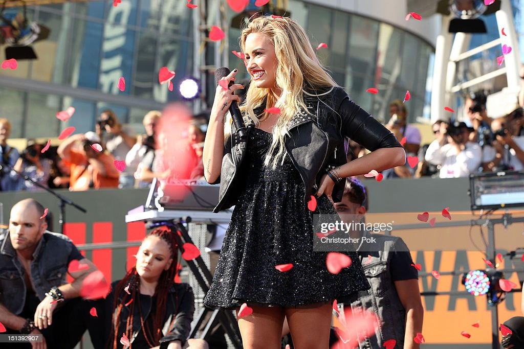 <a gi-track='captionPersonalityLinkClicked' href=/galleries/search?phrase=Demi+Lovato&family=editorial&specificpeople=4897002 ng-click='$event.stopPropagation()'>Demi Lovato</a> performs outside the 2012 MTV Video Music Awards at Staples Center on September 6, 2012 in Los Angeles, California.