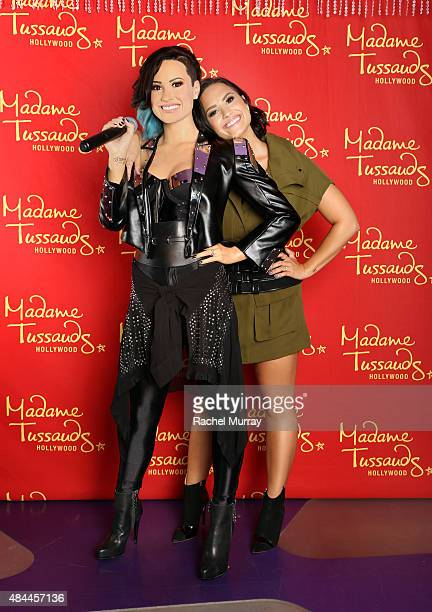 Demi Lovato receives the ultimate 23rd birthday gift from Madame Tussauds Hollywood her own wax figure on August 17 2015 in Hollywood California