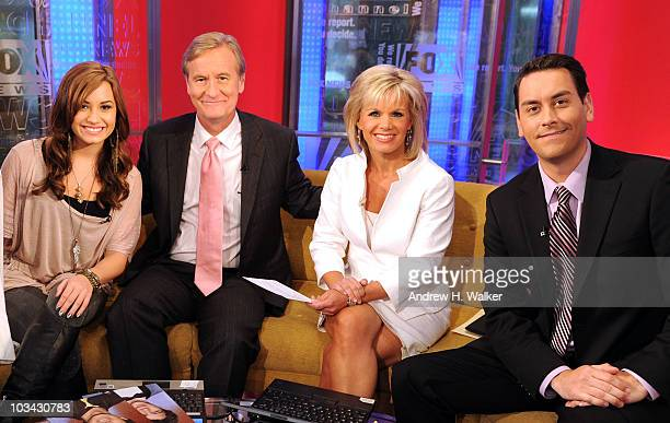 Demi Lovato Steve Doocy Gretchen Carlson and Clayton Morris visit 'FOX Friends' at the FOX studios on August 18 2010 in New York City