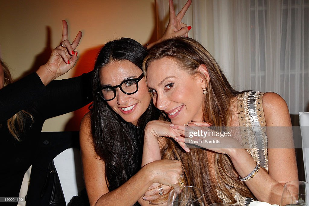 Demi Moore (L)and Jacqui Getty attend the Ferragamo presentation Spring Summer Runway Collection with VIP dinner, hosted by Jacqui Getty and Harpers BAZAAR at Chateau Marmont on January 24, 2013 in Los Angeles, California.