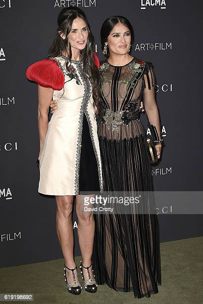 Demi Moore and Selma Hayek attend the 2016 LACMA ArtFilm Gala Arrivals at LACMA on October 29 2016 in Los Angeles California