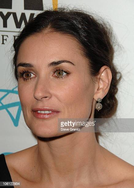 Demi Moore during Hollywood Film Festival 10th Annual Hollywood Awards Press Room at The Beverly Hilton Hotel in Beverly Hills California United...