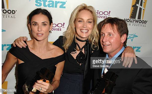 Demi Moore Sharon Stone and Emilio Estevez during Hollywood Film Festival 10th Annual Hollywood Awards Press Room at The Beverly Hilton Hotel in...