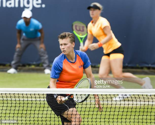 Demi Schuurs and Kiki Bertens of the Netherlands compete in the ladies double tennis final match at the Ricoh Open Tennis against Dominika Cibulkova...