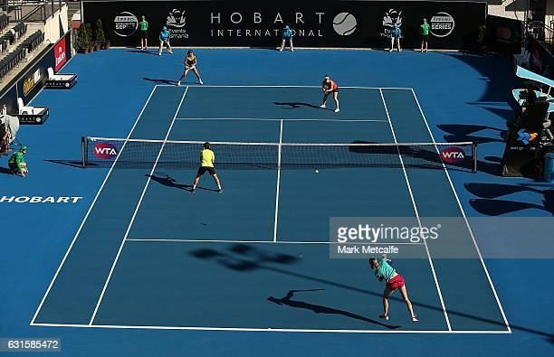 Demi Schuurs of the Netherlands and Renata Voracova of the Czech Republic play their doubles semi final match against Gabriela Dabrowski of Canada...