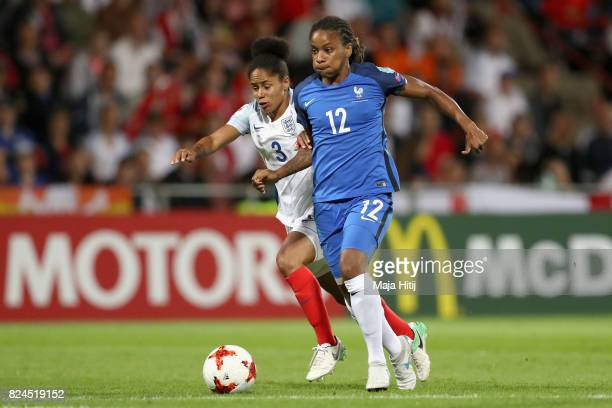 Demi Stokes of England and Elodie Thomis of France battle for possession during the UEFA Women's Euro 2017 Quarter Final match between France and...